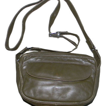 Vintage Enny leather Handbag, forest green, nappa leather, crossbody purse, Italian Designer