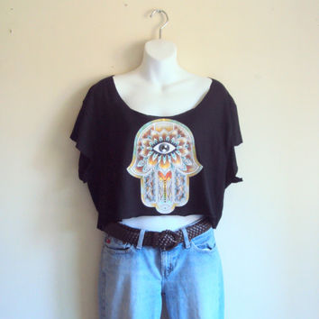 Hamsa Cropped Top Black Yoga Top Workout T-Shirt Hand of Fatima Cut Out Graphic Tee Fitness Zen T-Shirts Meditation T-Shirt