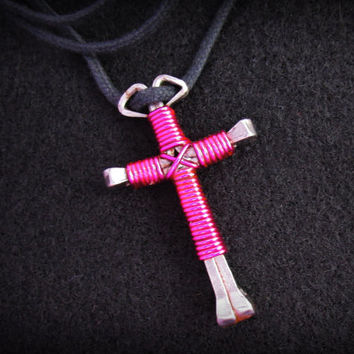 Magenta Disciples Cross, Horseshoe Nail Wire Wrapped Jesus Cross Pendant, Religious Necklace, Christian Accessory, Unisex Jewelry,