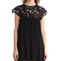 FLORAL CROCHET BABY DOLL DRESS - BLACK