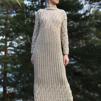 PDF pattern. Hand knitted long dress with long sleeves. Digital pattern from Ilze Of Norway.