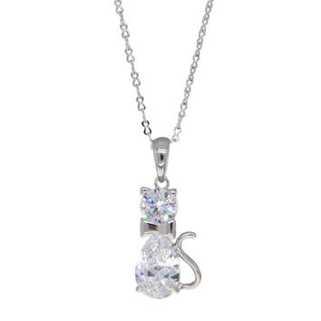 Dear Deer White Gold Plated Cute Cat Pendant Necklace