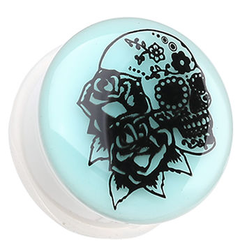 Glow in the Dark Rose Sugar Skull Single Flared Ear Gauge Plug