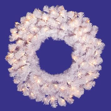 "24"" Pre-Lit Crystal White Artificial Christmas Wreath - Clear LED Lights"