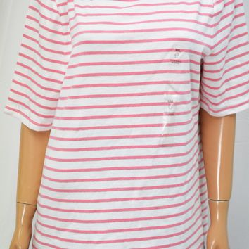 Charter Club Women's Elbow Sleeve Metallic Pink Striped Blouse Top XXL