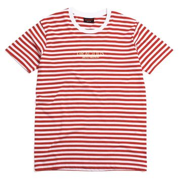 Gracious MFG. x Motivation Embroidered Striped T-Shirt Red / White
