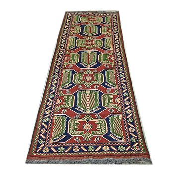 Oriental Kehghai Turkman Pure Wool Runner Rug, Dark Brown/Green