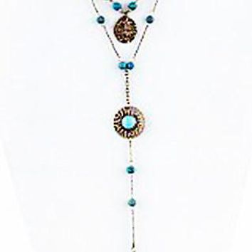 Stone Drop Layer Necklace Set, Antique Gold and Turquoise