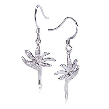 Bird of Paradise Pave Cubic Zirconia Sterling Silver Hook Earring