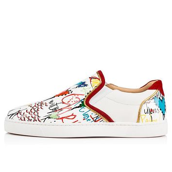 Christian Louboutin Cl Sailor Boat Flat Version White Leather 18s Sneakers