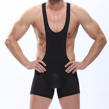 Hot Mens Sexy Mesh Spandex Bodysuit Thong Leotards Unitard Solid Wrestling Singlet Teddies Male Vest Elastic Underwear