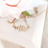 Gold Mrs Necklace