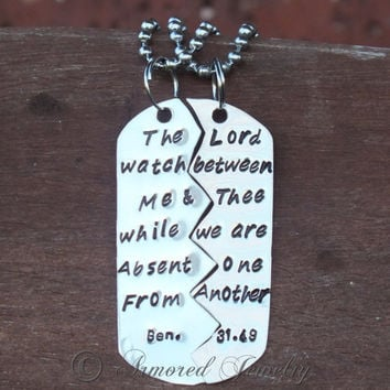 Bible Verse Split Dog Tag - Genesis 31:49 - Deployment Jewelry - Necklace - Pendant - Prayer Jewelry