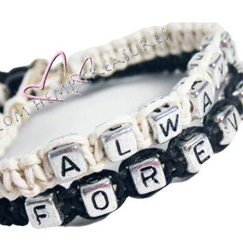 Always Forever Bracelets, Couples Personalized Bracelet Set, Hemp Bracelets , Anniversary Gift