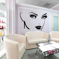Vinyl Wall Decal Beautiful Girl Face Beauty Salon Makeup Eyelash Eyes Stickers Unique Gift (1391ig)