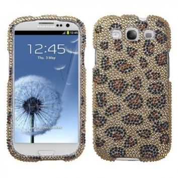 Jewel Rhinestone Diamond Case Protector Cover (Gold Leopard) for Samsung Galaxy S3 SIII i9300 AT&T i747 T-Mobile T999 Sprint L710 Verizon i535 US Cellular R530