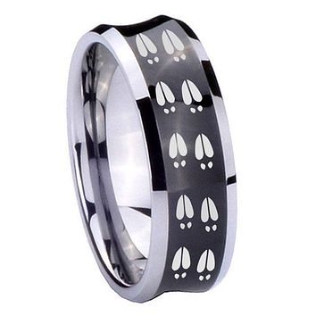 8MM Black Concave Deer Tracks Two Tone Tungsten Carbide Laser Engraved Ring