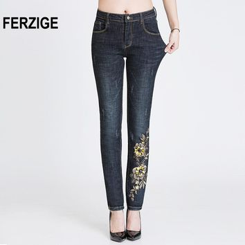 Women Jeans Autumn Embroidery Sequined Floral Black High Waist Stretch Pencils Denim Pants Slim Fit Skinny Sexy Push Up