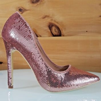 """CR Priscilla Rose Gold Sequin Pointy Toe Pump 4.5""""  High Heel Shoes"""