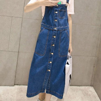 Front Button Up Long Denim Braces Dress