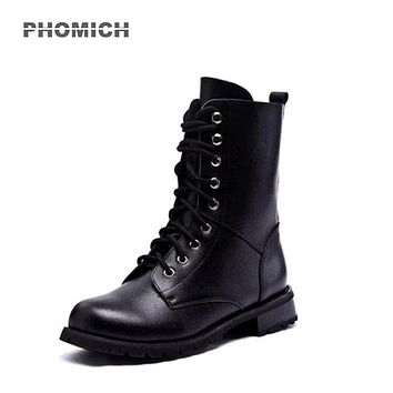 BOOTS MOTO Women's Motorcycle Shoes Motocross Racing Shoes Leather Dr. Marten style