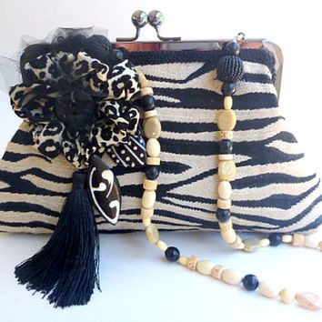 Zebra print, handbag, theater bag, shoulder bag, clutch, African influence, detachable beaded strap