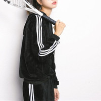 Casual Velvet Stripe Thickened Two-Piece Sportswears Set