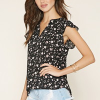 Floral Flutter-Sleeve Top