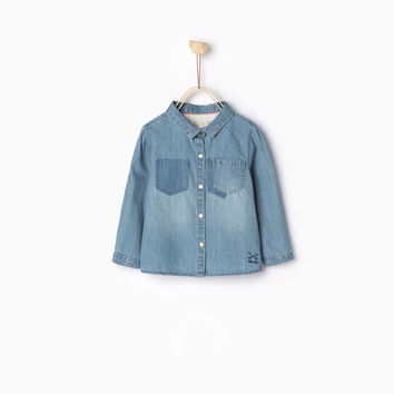 DENIM SHIRT WITH ROLL-UP SLEEVES