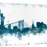 City Wall Art -  Art Canvas Print - Watercolor New York Canvas Print - New York Art - New York Skyline Silhouettes Watercolor Canvas