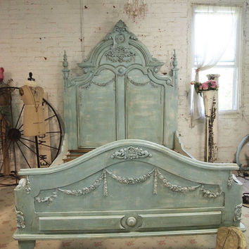 Painted Cottage Shabby  French Aqua  Romantic  Bed