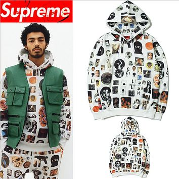Supreme autumn and winter with graffiti covered print hooded sweater men and women hoodie couple fleece jacket