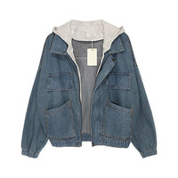 Faded Denim Jackets with Contrast Hood