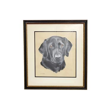 Estate Black Lab Labrador Watercolor Painting Framed 24in by 21in