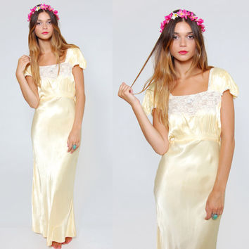 Vintage 40s Satin Slip Buttercream Yellow Lace Slip Dress Empire Waist Fitted Maxi Dress