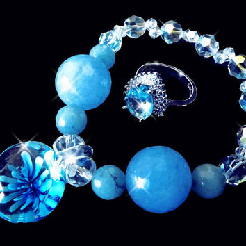 Crystal set, Crystal bracelet, aquamarine ring,  quartz bracelet, glass flower, blue bracelet, blue jewelry set, gemstone bracelet, OOAK