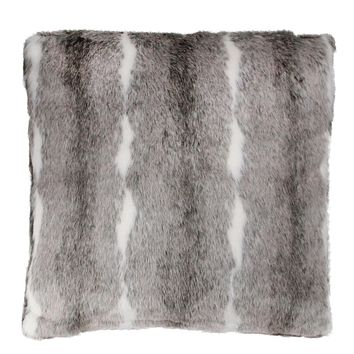 "18"" Lovely Rustic White and Gray Faux Fur Super Soft Throw Pillow"