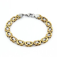 "Mens 8.5"" Stainless Steel Gold Silver Flat Byzantine Chain Link Bracelet"