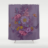 Beauty (eye of the beholder) Shower Curtain by Lidija Paradinović Nagulov - Celandine
