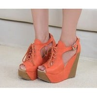Fashionable lace-up Roman style wedges