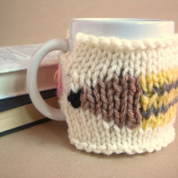 Pencil Mug Cover with Button – Back to School Gifts for Teacher – Teacher Appreciation Gift - Knit Coffee Mug Cozy – Hand Knit Mug Warmer