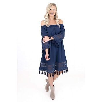Women's Off The Shoulder Dress With Tassels