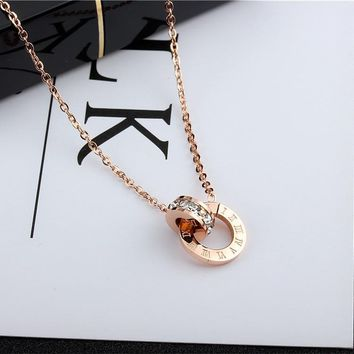 YUN RUO Fashion Brand Woman Jewelry Gold Silver Color Roman Numerals Pendant Necklace 316 L Stainless Steel Jewelry High Polish