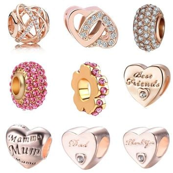 European rose heart spacer best friend mom mum dad Alloy Beads Charms Fit Pandora Bracelets & Bangles Necklace DIY Jewelry EL050
