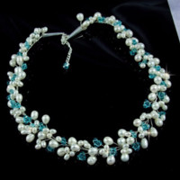 LIONA - Freshwater Pearls and Blue Topaz Swarovski Crystals Necklace