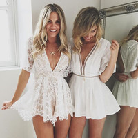 Sexy Deep V-Neck Lace Short Sleeve Mini Dress