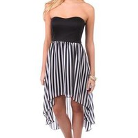 strapless day dress with black and white stripe high low chiffon skirt - debshops.com