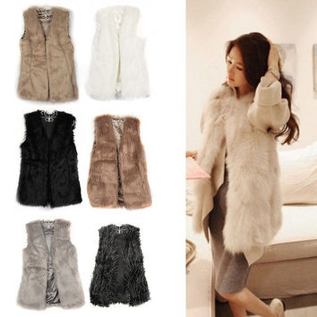 Vintagerose-Women's Sleeveless Faux Fluffy Lamb Fur Coat Jacket Furry Vest Outerwear = 1931969412