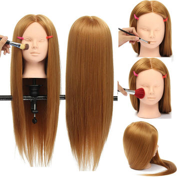 "26"" Hairdressing Hair Training Mannequin Head Model Makeup Practice With Clamp Holder"