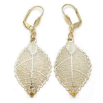 Gold Layered 068.004 Dangle Earring, Leaf and Filigree Design, with White Crystal, Diamond Cutting Finish, Gold Tone